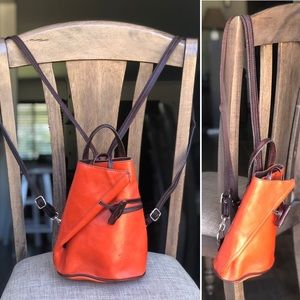 Minimalist burnt orange leather  backpack vintage